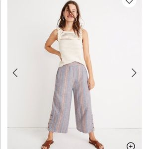 Madewell stripped cropped flowy pants size M